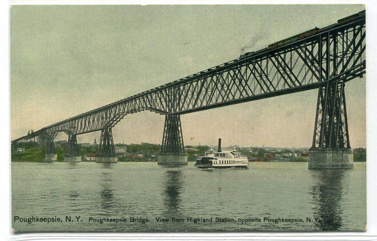 Railroad Train Bridge Steamer Poughkeepsie New York 1910c postcard