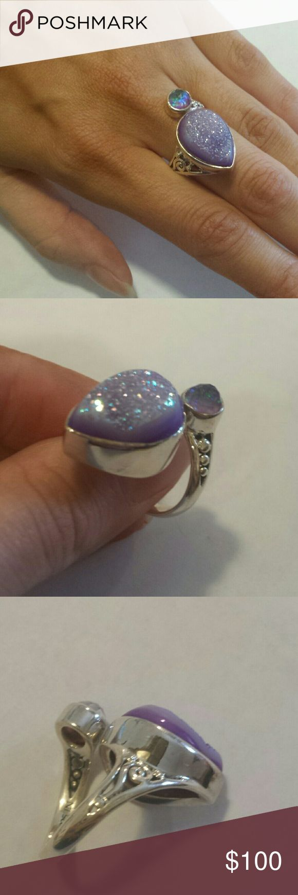 """Genuine lavender Druzy 7 Sterling silver """" gorgeous!  Perfect """""""" make an offer! HSN Jewelry Rings"""