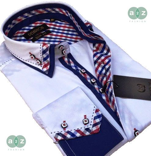 Brand New Men's Formal, Smart, White with Blue Double Collar Casual Italian Design Slim Fit Shirt,  with Contrast White,  Navy Blue, Red, Light Blue Checks - NEW DESIGN - M- 3XL