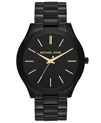 Michael Kors Women's Slim Runway Black-Tone Stainless Steel Bracelet Watch 42mm MK3221 - For Her - Jewelry & Watches - Macy's