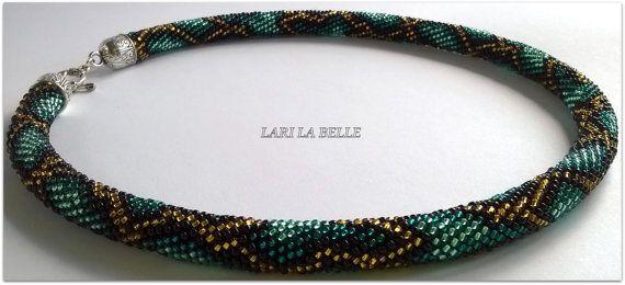 AZURE PYTHON seed beaded crochet elegant set choker от LariLaBelle