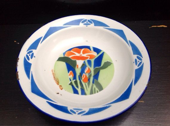 Beautiful small vintage enamel dish with by Onmykitchentable