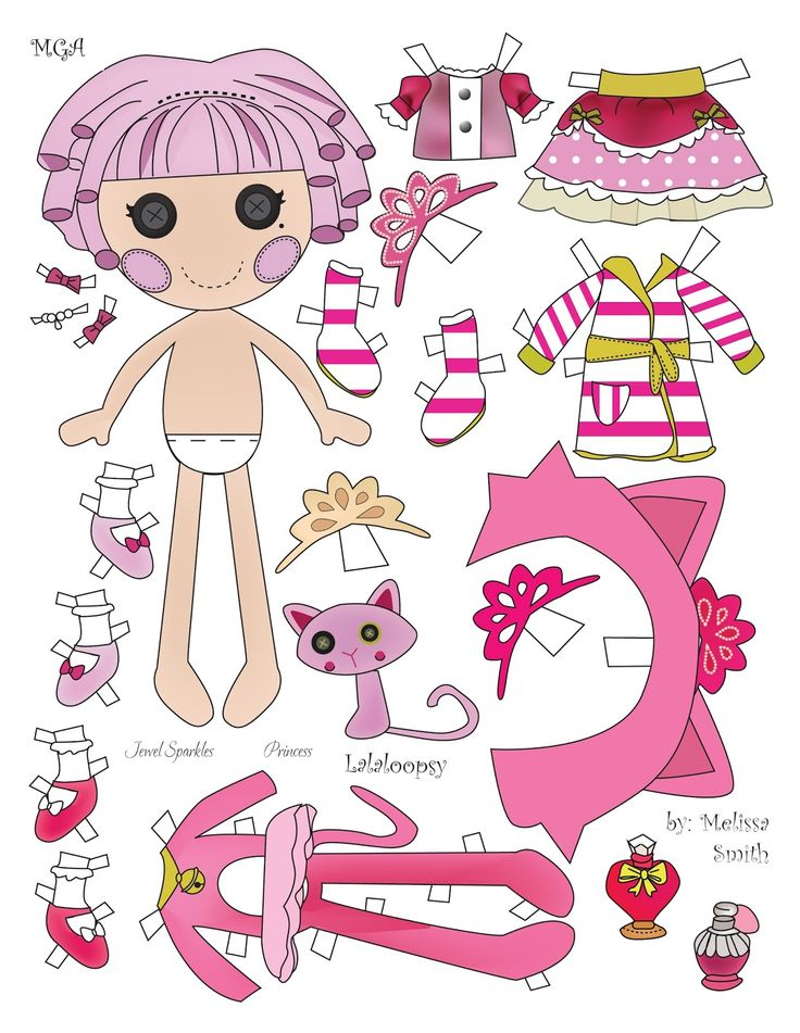 Above is another Lalaloopsy paper doll featuring the MGA character Jewel Sparkle.  Jewel is a princess and she has 1 cat costume, 1 robe, ...