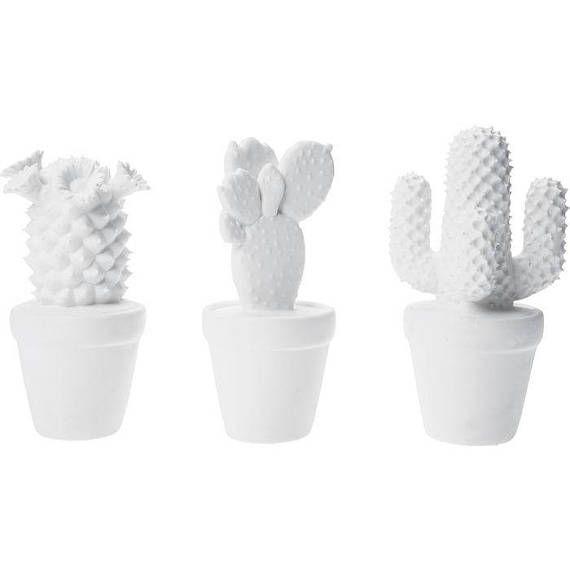 Cactus set of 3 pieces white porcelain floral botanic