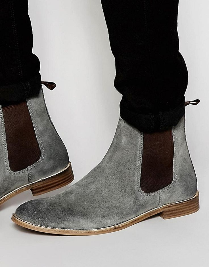 Image 1 of ASOS Chelsea Boots in Gray Suede