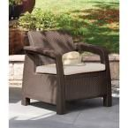 Keter Corfu Brown All-Weather Patio Armchair with Tan Cushions 214769 at The Home Depot - Mobile