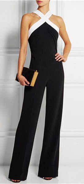Black and White Spliced Jumpsuit