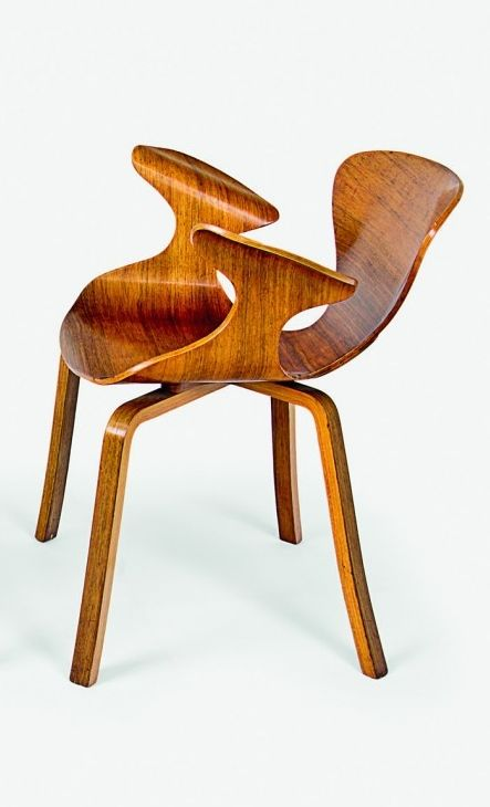 Anonymous; Moulded Walnut Veneer Plywood Prototype Armchair, 1950s.