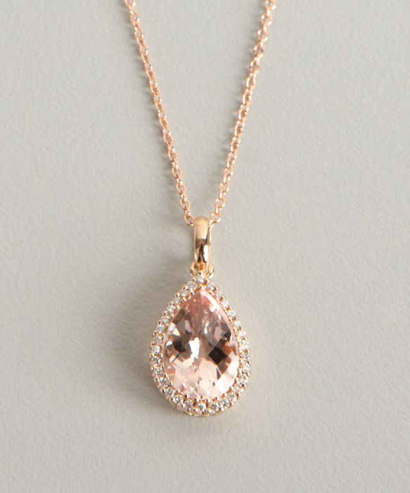 Armadani morganite and diamond rose gold teardrop pendant necklace