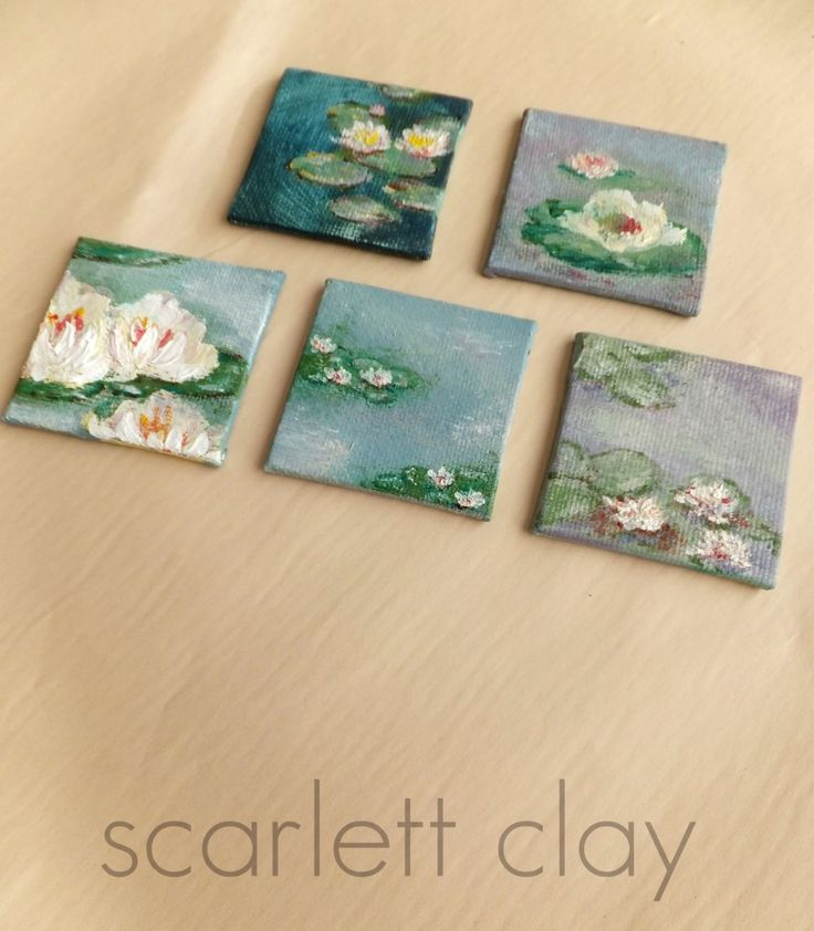 These tiny 2 inch square canvases are perfect for painting miniature Monet waterlilies. First, I painted them with clear gesso and pulled out some Monet books for inspiration… My technique was simple: 1. Stipple background in soft colors with a stencil brush. (made transparent by mixing acrylic with gel medium) 2. Fingerpaint water lilies in …
