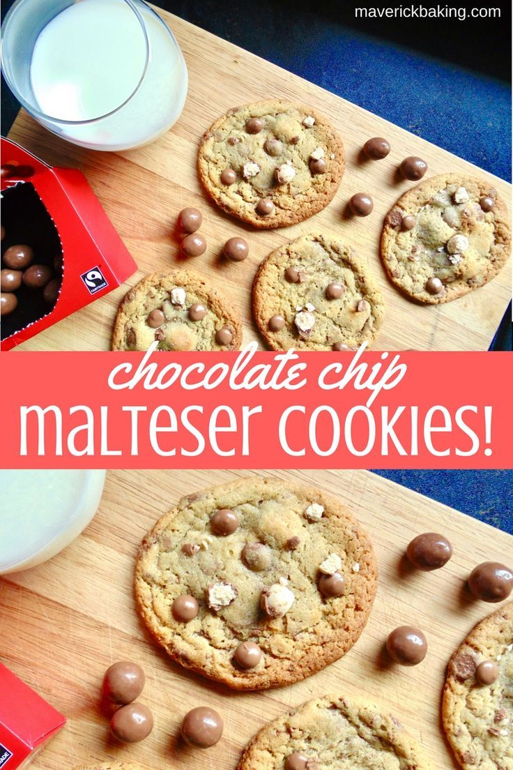 Chocolate Chip Malteser Cookies; soft and chewy bakery-style malted cookies, loaded with creamy milk chocolate chips and crunchy smashed Maltesers!
