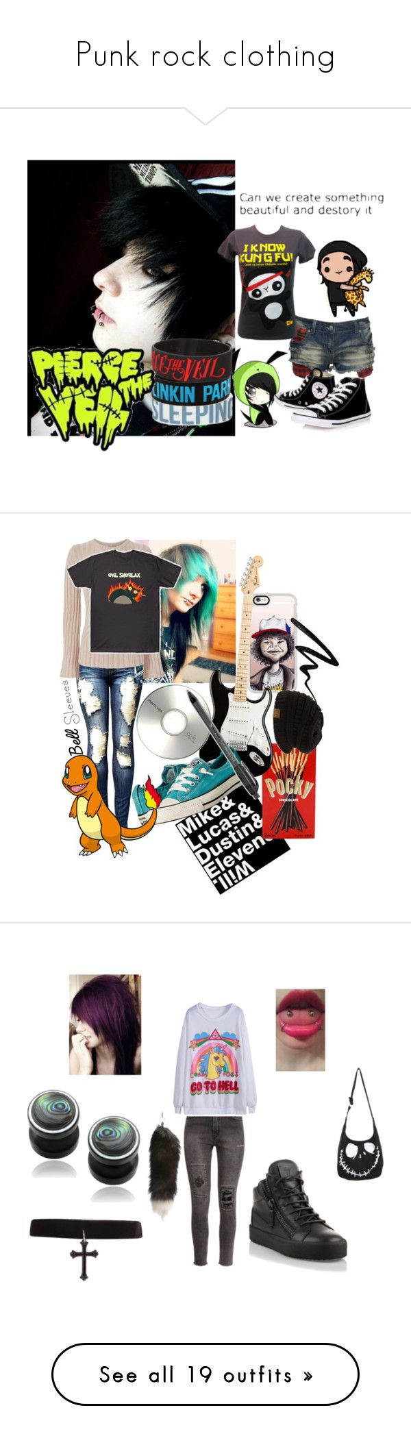 """""""Punk rock clothing"""" by msmshoi ❤ liked on Polyvore featuring Crafted, Panda, Converse, Autumn Cashmere, Casetify, Memorex, Paper Mate, Eyeko, H&M and Giuseppe Zanotti"""