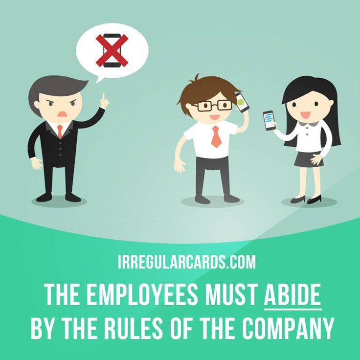 """""""Abide"""" means to accept or act in accordance with (a rule, decision, or recommendation).  Example: The employees must abide by the rules of the company.  #irregularverbs #englishverbs #verbs #english #englishlanguage #learnenglish #studyenglish #language #vocabulary #dictionary #efl #esl #tesl #tefl #toefl #ielts #toeic #englishlearning #vocab #abide #accept"""
