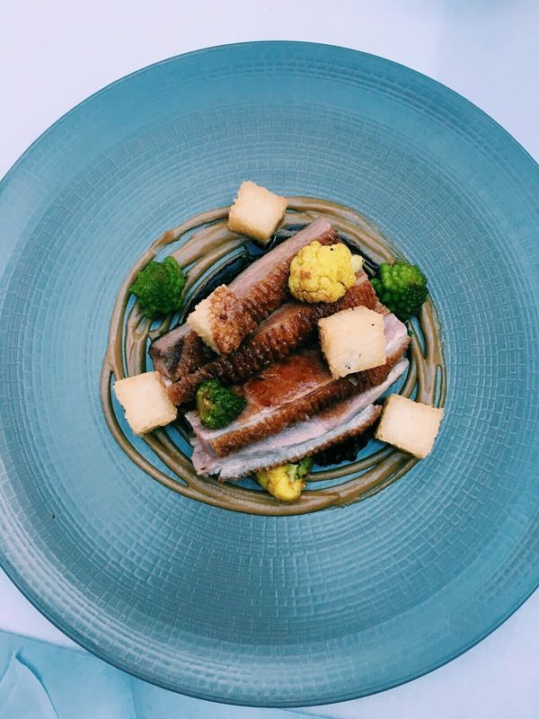 Creedy Carver duck, crispy cardamom rice, cauliflower & cumin recipe by professional chef Richard Davies  (Uploaded by Santa Maria Foodservice)