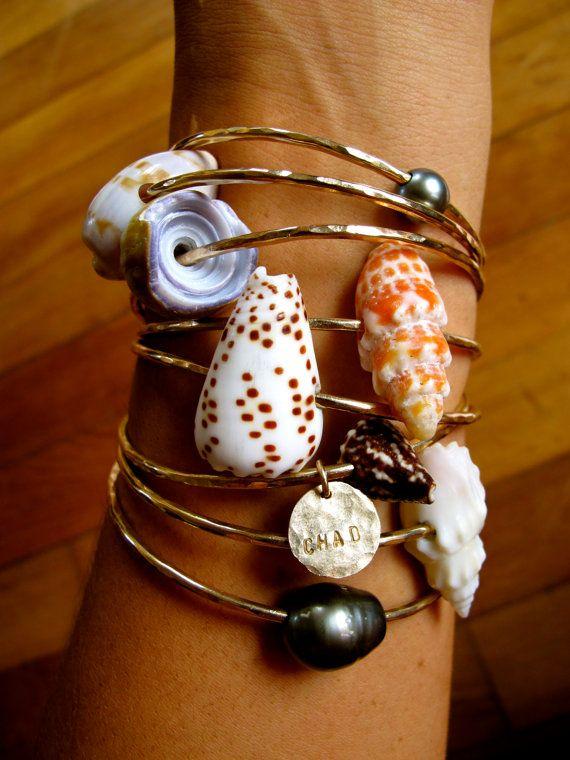 Hawaiian Seashell, Tahitian pearls, & personalized charm bangles on Etsy, $60.00