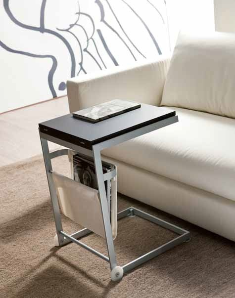 Sofa table with wheels to support the notebook, folding top veneered or in decorative material