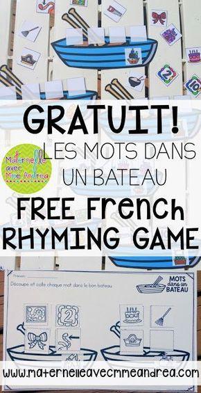 French rhymes | FREE French rhyming game | les rimes | conscience phonologique | jeu gratuit les rimes | lecture guidée | maternelle