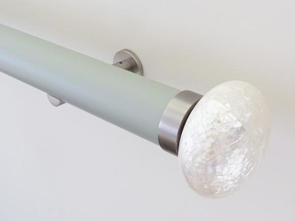 50mm diameter matt dove lacquered curtain pole set with opaline riva ellipse finials, steel brackets