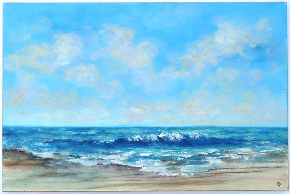 Fashionable Patterns Original Pastel Painting Of Seascape #2 With Lots Of Foam And Rolling Waves Maritime Folk Art