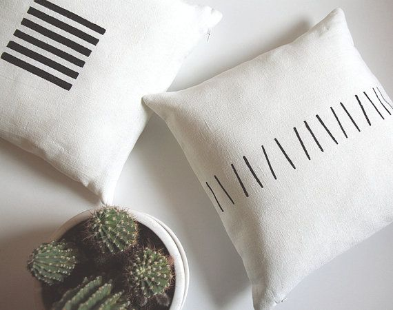 Off white linen pillow cover for decorative throw cushion. Hand painted minimalist black primitive stripes. Pure design for modern minimalist