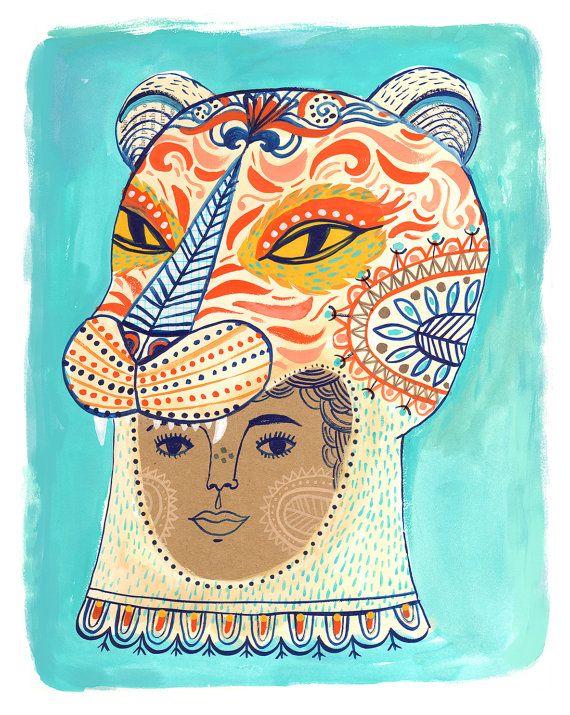 Wir sind ganz wild Mädchen Gesicht Print Tigersheepfriends auf Etsy