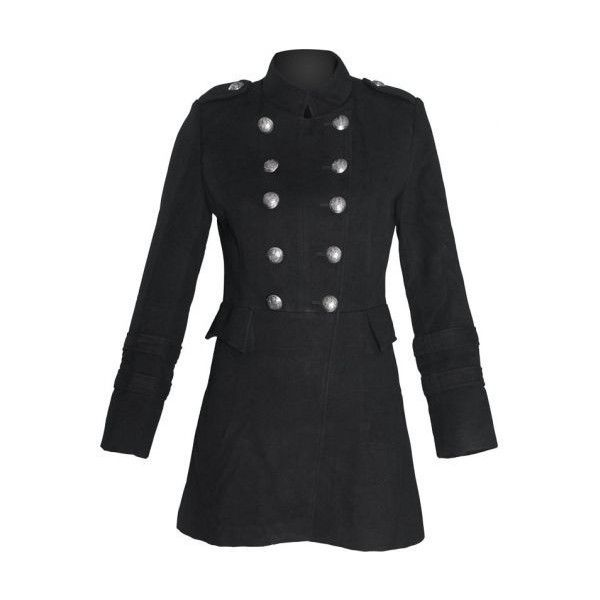 Queen of Darkness women's vintage uniform jacket (black) ($120) ❤ liked on Polyvore featuring outerwear, jackets, vintage military jacket, vintage military style jacket, gothic military jacket, goth military jacket and military style jacket