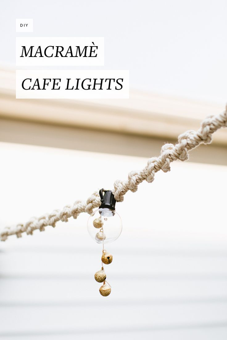 Twisted macram� rope and antiqued bells dress up simple cafe lights for a cool, boho look. Perfect for your patio, backyard, or deck! Get the full DIY tutorial on jojotastic.com