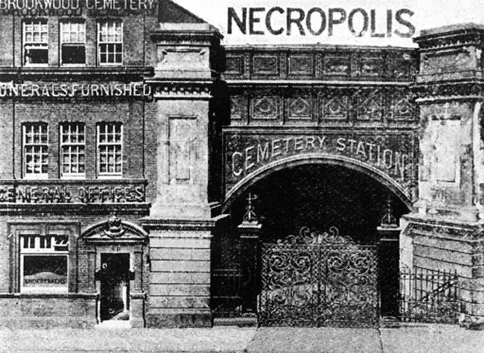 Entrance to Necropolis Station, Waterloo, London, 1890: Just outside Woking, in Surrey, is Brookwood Cemetery. The cemetery was opened by the London Necropolis Company in 1854 as an out-of-town cemetery; London was struggling to accommodate the dead in its inner city graveyards, and so this vast space (500 acres) was acquired. The dead of London would reach the cemetery via a special train station, the London Necropolis Railway Station, which was next to Waterloo.