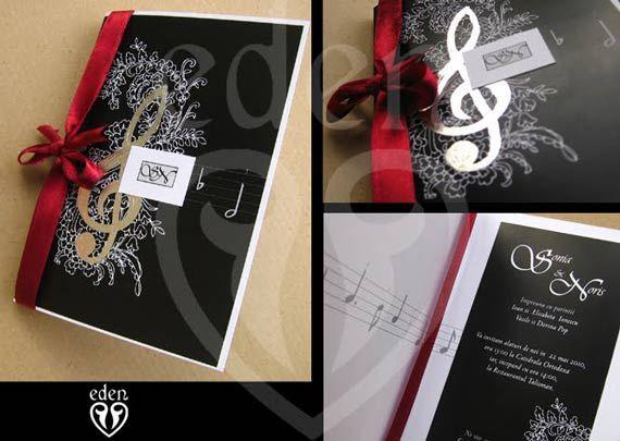 music theme, wedding invitations
