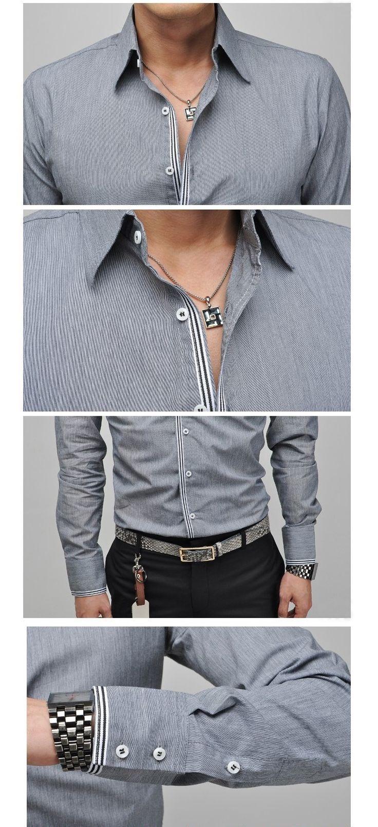 2014 nuevo diseño totalmente nuevo estilo de camisas para hombre de alta calidad ocasional camisas slim fit tamaño vestido de noche de la moda de los hombres: