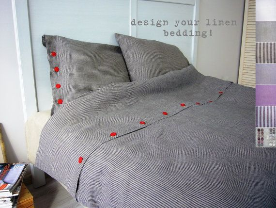 Linen bedding Queen / Full bespoke linens linen bed di LinenCrafts, $269.00