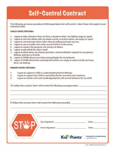 Self-Control Contract.  Great contract where parents and children can discuss ways to regulate behavior and the consequences of breaking the contracted expectations.