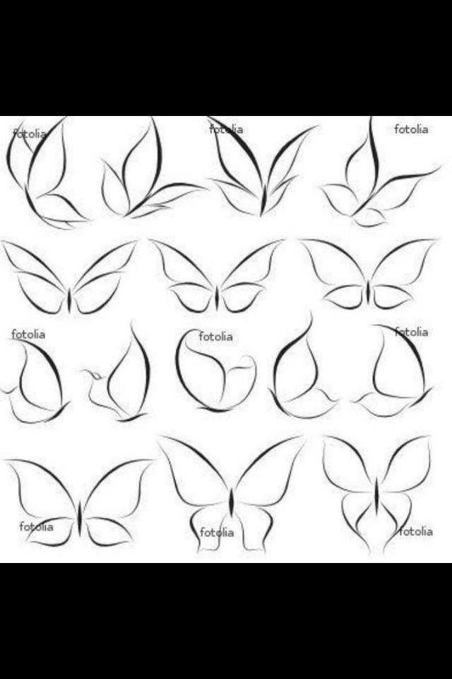 I like the simplicity of these.  This is kind of what I'm thinking...more simplistic...just outline...no color or real design.   butterflies  butterfly tattoo | tattoo ideas | tattoo inspiration