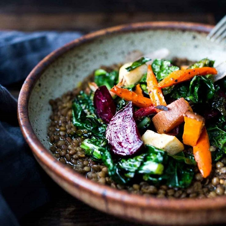This earthy bowl of lentils bursting with Middle Eastern flavors is topped with leftover roasted root veggies from a large batch for an easy weeknight dinner. Keep it vegan or add a drizzle of plain yogurt for extra richness.