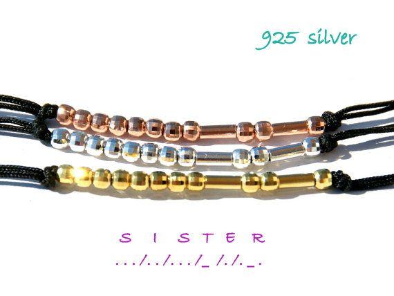 925 SILVER Sister morse code bracelet  Morse code