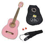 #Strumentimusicali #4: ts-ideen - Chitarra acustica da concerto 1/4 per bambini dai 4 ai 7 anni, accessori inclusi: custodia imbottita, tracolla, corde di ricambio e diapason, colore rosa