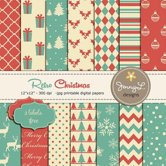 RETRO Christmas Digital Paper Retro Christmas by JennyLDesignsShop