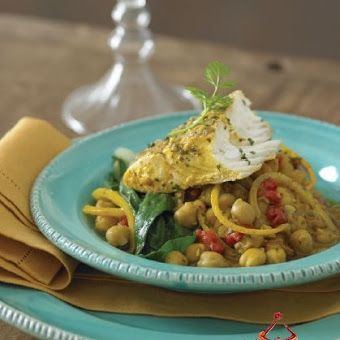 TAGINE OF FISH WITH CHICKPEAS & ROASTED PEPPERS