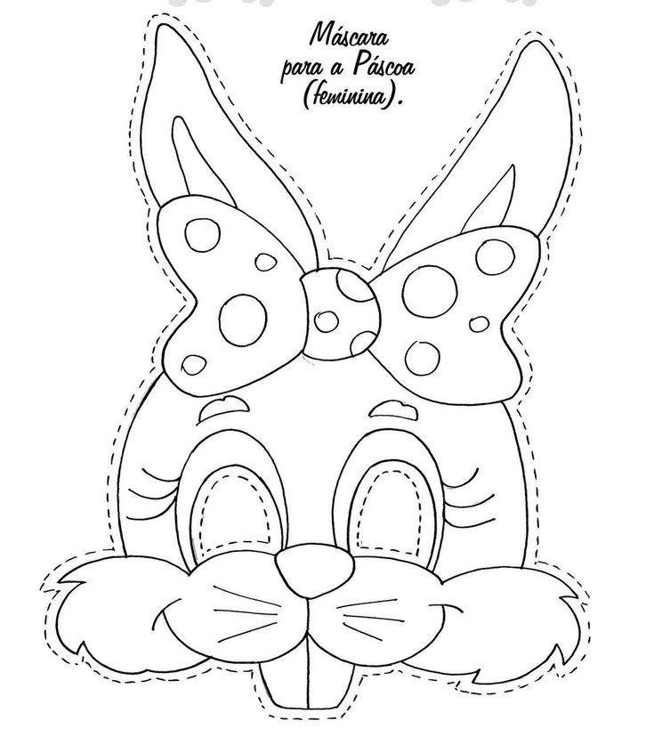 Molde Happy Easter Imagenes   Máscaras de Coelho da Páscoa