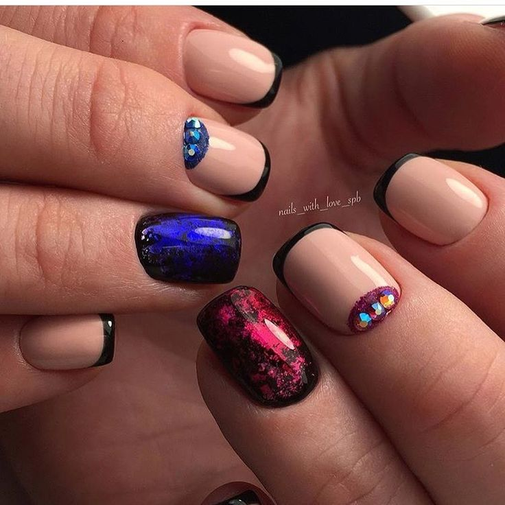 Beige and black nail designs, Black french manicure, Bright blue nails ideas, Fall nail ideas, Hollywood french manicure, Ideas of beige nails, Medium nails, Nails ideas 2017
