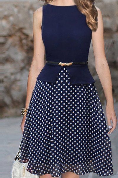 Elegant Style Polka Dot Print Sleeveless Round Collar Wide Hem Belt Design Dress For Women