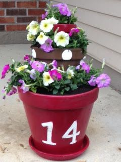 Address Number Tiered Flower Pots