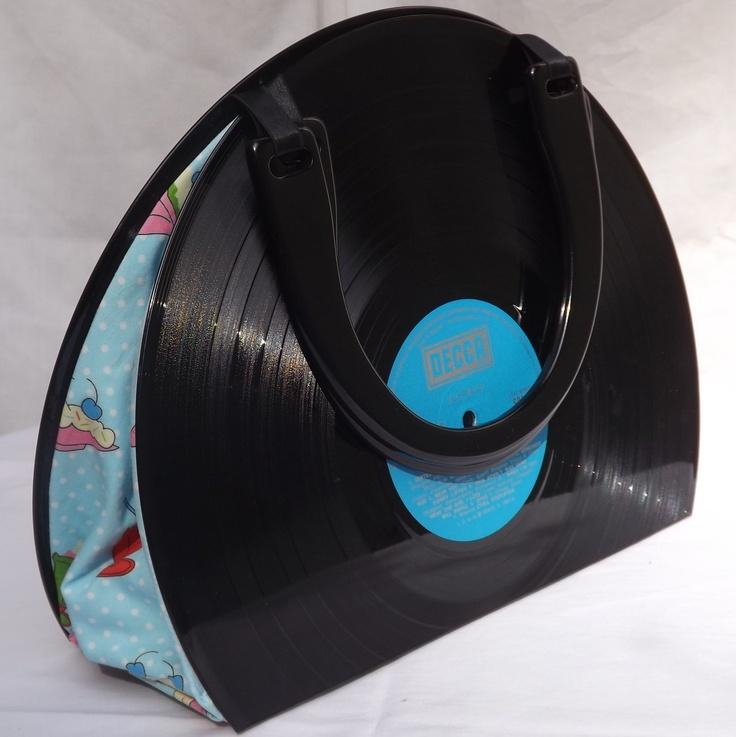 Upcycled Vinyl Record Handbag With Ice Cream Sundae Fabric