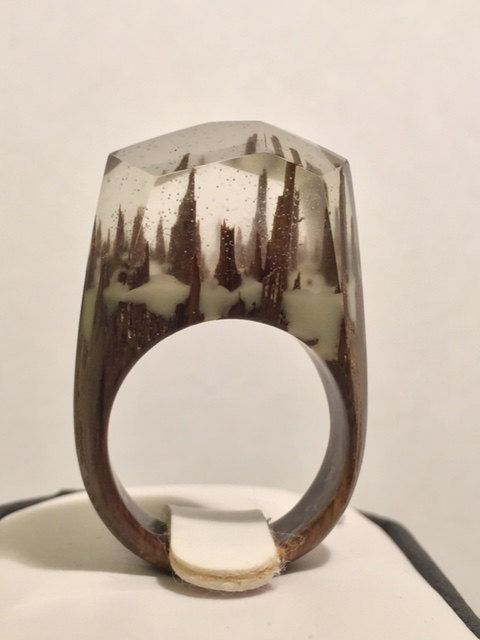 Unique Resin Wood Ring by karinaartgallery on Etsy