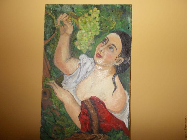 Купить СБОР ВИНОГРАДА МАСЛО,КАРТОН - комбинированный, девушка в красном, виноград, виноградная гроздь