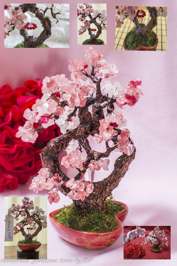Hand made Rose quartz bonsai tree