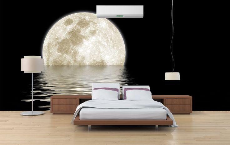 Beautiful full moon setting into the ocean #mural #moon #interior #design