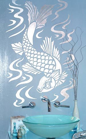 Stencil Decoration For The Walls :) Love This Koi Fish!