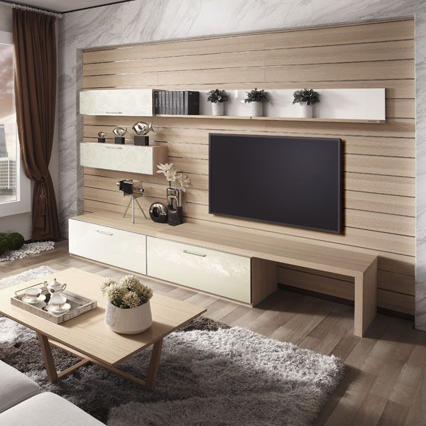 Elegent OPPEIN Wooden Grain Flat Laminate Leather TV Cabinet