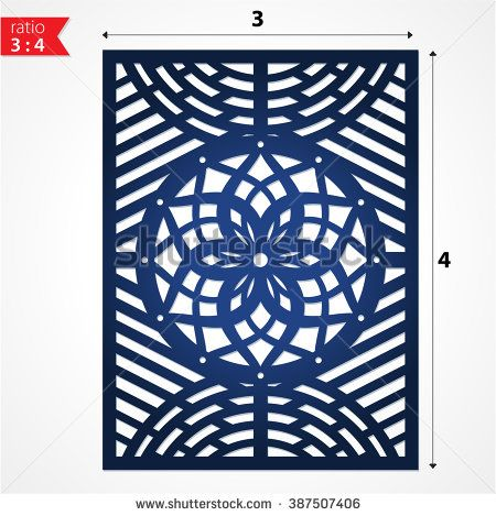 Paper cut flower frame card for laser cutting. Die cut paper card, may be used for cutting machines. Stencil paper craft. Laser cutting file vector. Laser cut design template. Decorative laser cut. - stock vector
